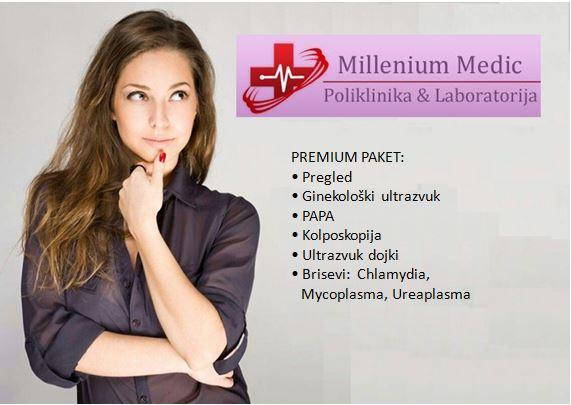 Samo 3500 din Premium  paket: ginekološki pregled, UZ, PAPA, kolposkopija, UZ dojki + brisevi (Chlamydia,Mycoplazma,Ureaplasma)
